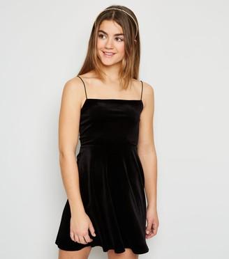New Look Girls Velvet Skater Dress
