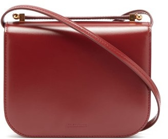 Jil Sander Logo-debossed Small Smooth-leather Shoulder Bag - Burgundy