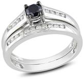 Zales 1/2 CT. T.W. Enhanced Black and White Diamond Bridal Set in 10K White Gold