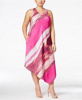 Rachel Roy Curvy Trendy Plus Size Printed Asymmetrical Dress