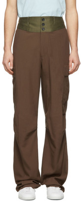 Lanvin Brown Contrast Waistband Cargo Pants