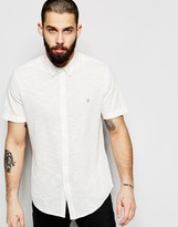 Farah Shirt in Pique Cotton Short Sleeves Slim Fit