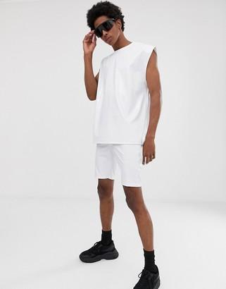 ASOS DESIGN co-ord oversized sleeveless t-shirt in white vinyl fabric