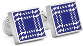 Ike Behar Square Houndstooth-Print Cuff Links, Silver/Blue