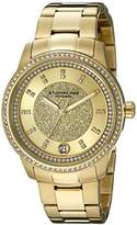 Stuhrling Original Women's Quartz Watch with Gold Dial Analogue Display and Gold Stainless Steel Bracelet 794.02
