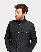 Joules Holmwood Mens Quilted Biker Jacket with Zip and Popper Fastening in Black