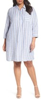 Plus Size Women's Caslon Stripe Linen Shirtdress