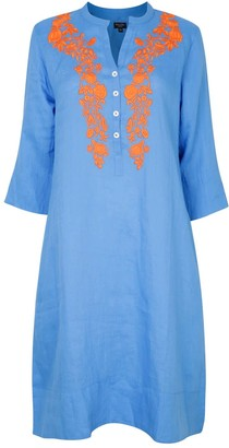 Nologo Chic Victoria Embroidered Tunic Dress Blue With Satsuma
