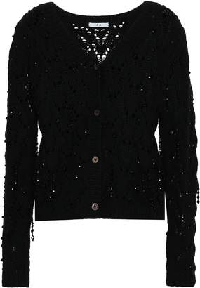 Co Bead-embellished Open-knit Wool And Cashmere-blend Cardigan