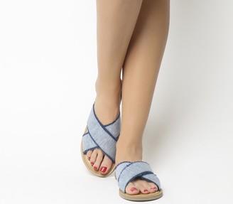 Toms Viv Sandals Blue Slub Chambray