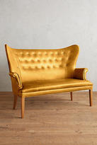 Anthropologie Premium Leather Wingback Bench