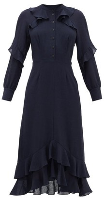 Cefinn Ruffle-trimmed Voile Midi Dress - Navy
