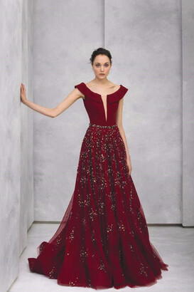 Tony Ward Collared Crepe Evening Gown