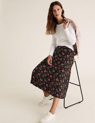 Marks and Spencer Jersey Floral Midi Skater Skirt