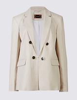 Per Una Linen Rich Gold Button Jacket