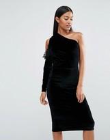 Boohoo Velvet One Shoulder Bodycon Dress