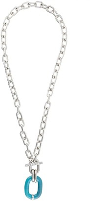 Paco Rabanne Silver And Turquoise Chain-link Necklace