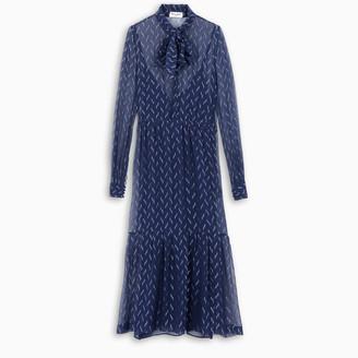 Saint Laurent Blue lame silk crepe long dress