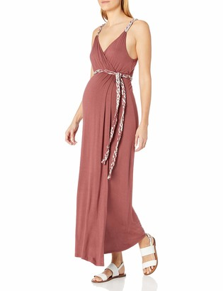 Everly Grey Women's Maternity Sofia Nursing Maxi Faux Wrap Dress