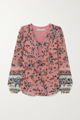 Veronica Beard Lowell Floral-print Fil Coupe Silk-blend Georgette Blouse - Coral