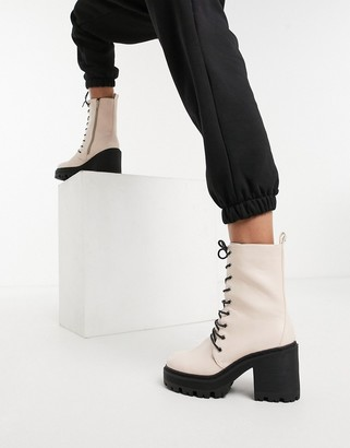 Truffle Collection faux leather chunky heeled lace up boot in light pink