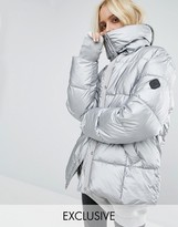 Puffa Oversized Padded Jacket In Metallic Silver