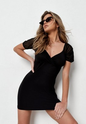Missguided Black Mesh Wrap Front Milkmaid Mini Dress