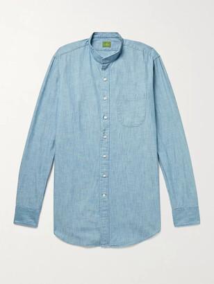 Sid Mashburn Grandad-Collar Cotton-Chambray Shirt
