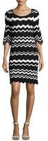 Shoshanna Birdie 3/4-Sleeve Zigzag Sweaterdress, Black