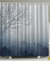 Rainy Scene Mystic Foggy Forest Abstract Artwork by Ambesonne, Art Prints Romantic Window Water Drops View Melancholia Therapy Lonely Tree Unique Bath Decor Polyester Fabric Shower Curtain Gray Denim