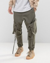 Asos Drop Crotch Pants With Strapping In Washed Khaki
