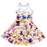 Lady Queen Girls Despicable Me Minions Print Scoop Skater Dress Party Skirt