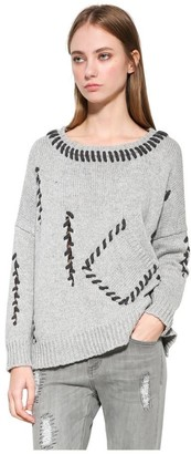 Desigual Women's LISO Woman Flat Knitted Thick Gauge Pullover_Silver Gray