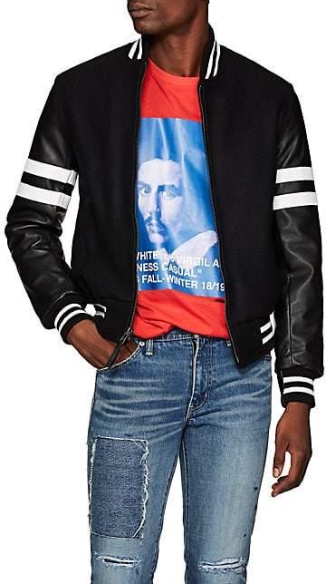 Barneys New York Golden Bear x Men's Striped Wool-Blend & Leather Varsity Jacket - Black
