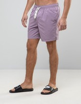 Asos Swim Shorts In Purple With Drawcord Detail In Mid Length