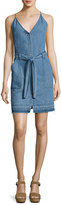 J Brand Carmela Chambray Button-Front Dress, Light Blue