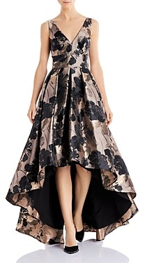 Eliza J Floral Jacquard High-Low Gown