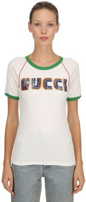 Gucci Sequined Cotton Ribbed Jersey T-shirt