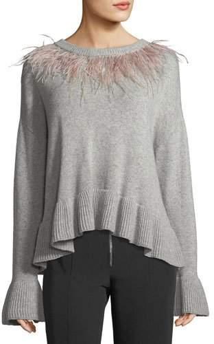 Cinq à Sept Emira Crewneck Long-Sleeve Wool Sweater