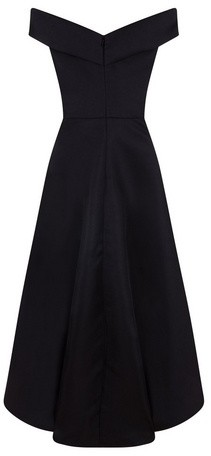 Dorothy Perkins Womens Chi Chi London Black Bardot Dip Hem Skater Dress, Black