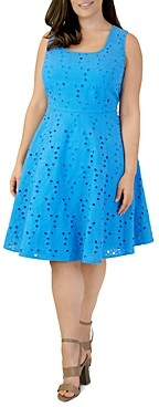 Marée Pour Toi Eyelet Lace Fit-and-Flare Dress