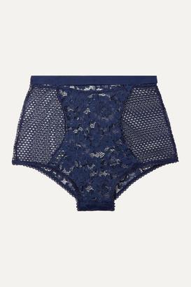 ELSE Petunia Stretch-mesh And Corded Lace Briefs - Midnight blue