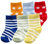 Luvable Friends Blue Star & Stripe Six-Pair Socks Set