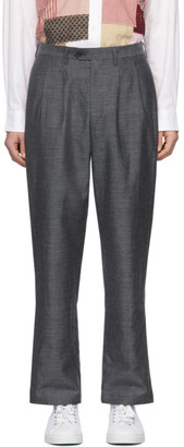 Junya Watanabe Grey Wool Pleated Trousers