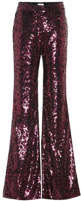 Halpern High-rise wide-leg sequined pants