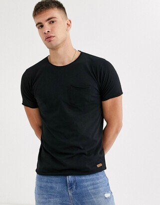 Brave Soul raw edge t-shirt-Black