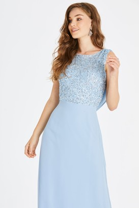 Little Mistress Irena Blue Hand-Embellished Sequin Cowl Back Maxi Dress