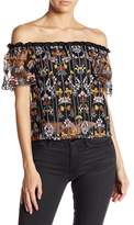 Lucy Paris Evelyn Embroidered Off-the-Shoulder Top