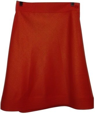 Genny Orange Wool Skirt for Women