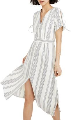 Madewell Short Sleeve Stripe Print Midi Dress